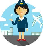 Stewardess on airport background Stock Image