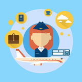 Stewardess Airport Crew Icon. Flat Vector Illustration Royalty Free Stock Image