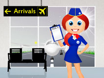 Stewardess in airport royalty free illustration