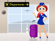 Stewardess in airport Royalty Free Stock Image