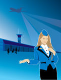 Stewardess airport travel flight Royalty Free Stock Image