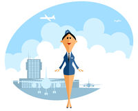 Stewardess in airport Royalty Free Stock Photo