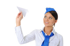Stewardess attraente Fotografia Stock