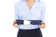Stewardess and belt Royalty Free Stock Images