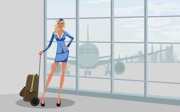 Stewardess bij de luchthaven stock illustratie