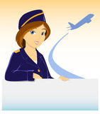 Stewardess with billboard and plane silhouette Royalty Free Stock Photo