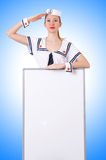 Stewardess with blank board Stock Image
