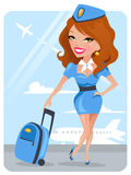 Stewardess bonito Fotos de Stock Royalty Free