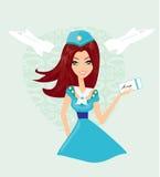 Stewardess bonito ilustração do vetor