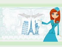 Stewardess bonito com bilhete ilustração do vetor