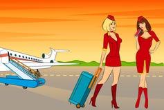 Stewardess bonito com bilhete de ar. ilustração royalty free