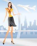 Stewardess bonito no aeroporto ilustração royalty free