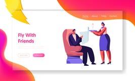 Stewardess Bringing Beverage, zum im Flugzeug-Lehnsessel bequem sitzen zu bemannen Flugbegleiter-Umh?llungs-Passagier im Flugzeug lizenzfreie abbildung