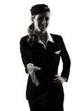 Stewardess cabin crew woman Handshaking isolated silhouette Stock Photo