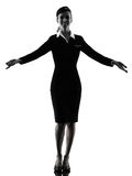 Stewardess cabin crew woman welcoming isolated silhouette Stock Image