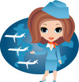 Stewardess cartoon Stock Images