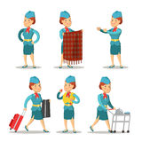 Stewardess Cartoon in Uniform. Air Hostess Royalty Free Stock Images