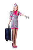 Stewardess with case isolated on white Royalty Free Stock Photos