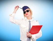 Stewardess with clipboard Stock Image