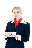 Stewardess with cups Stock Photography