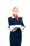 Stewardess with cups Royalty Free Stock Photography