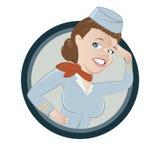 Stewardess del fumetto della donna   Immagine Stock Libera da Diritti
