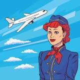 Stewardess in der Pop-Arten-Art Hintergrundfläche startet Schwimmen in Wolkenflugzeug Willkommen an Bord Illustration in der komi Lizenzfreies Stockfoto