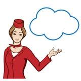 Stewardess in der Uniform, die eine Spracheblase zeigt Lizenzfreies Stockbild