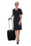 Stewardess die gaat werken royalty-vrije stock afbeeldingen