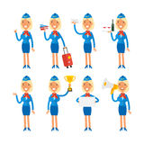 Stewardess in different poses Stock Photo