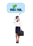 Stewardess dreaming of travel Stock Image