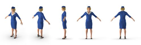 Stewardess Dressed In Blue Eenvormig op wit 3D Illustratie vector illustratie