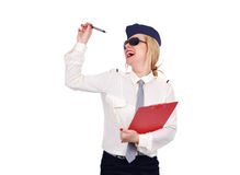 Stewardess feliz Fotos de Stock Royalty Free