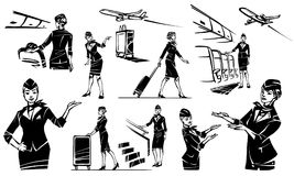 The stewardess goes and rolls her suitcase. Beautiful flight attendant in an airplane. Hand drawn illustration vector illustration