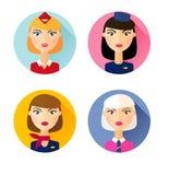 stewardess Grupo de ícones lisos do estilo Fotografia de Stock