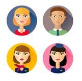 stewardess Grupo de ícones lisos do estilo ilustração do vetor