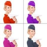 Stewardess In Hand Holding Paper Plane. Met Kleurenvarianten Royalty-vrije Stock Afbeelding