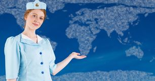 Stewardess with hand out against map with clouds and blue background. Digital composite of Stewardess with hand out against map with clouds and blue background Stock Images