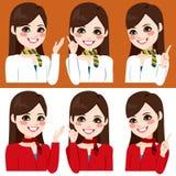 Stewardess Hands Expression Arkivfoto