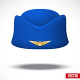 Stewardess hat of air hostess uniform. Vector. Stock Photo