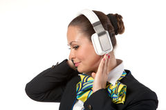 Stewardess with headphones Stock Image