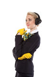 Stewardess with headphones Stock Photo