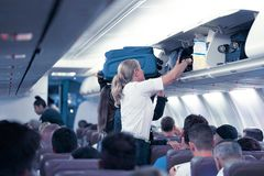 Stewardess in the airplane royalty free stock image
