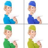 Stewardess Holding Paper Plane In Hand. With Color Variants Royalty Free Stock Images