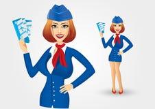 Stewardess holding tickets royalty free illustration