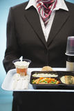 Stewardess Holding Tray With Airplane Food Lizenzfreie Stockfotografie