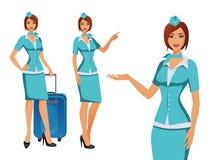 Stewardess i blå likformig Flyga deltagare, luftlyxfnask som pekar på information eller står med påsen royaltyfri illustrationer