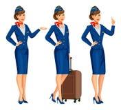 Stewardess i blå likformig Flygdeltagare, luftlyxfnask stock illustrationer