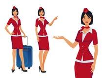 Stewardess i röd likformig Flyga deltagare, luftlyxfnask som pekar på information eller står med påsen stock illustrationer