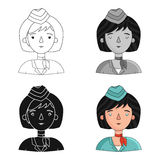 Stewardess icon in cartoon style isolated on white background. People of different profession symbol stock vector Royalty Free Stock Photography